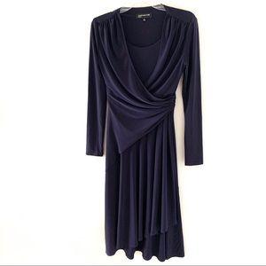 Jones New York Purple Faux Wrap Long Sleeve Dress